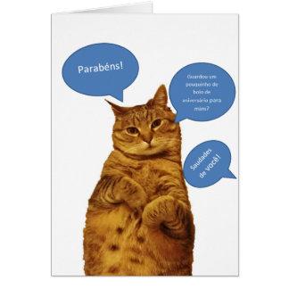Cartão Português: Aniversario - Gato