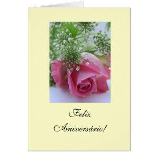 Cartão Português: Aniversário Rosa: Feliz Aniversário!