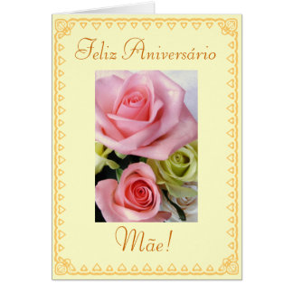 Cartão Português: Flores do aniversário