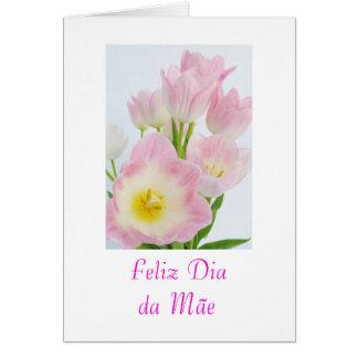 Cartão Português: Flores do dia das mães do diâmetro a