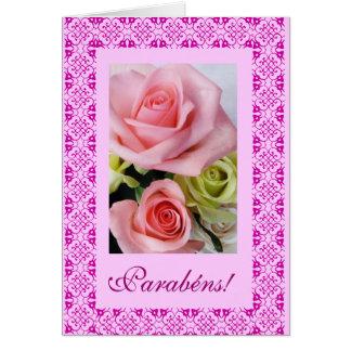 Cartão Português: Parabens! - rosas