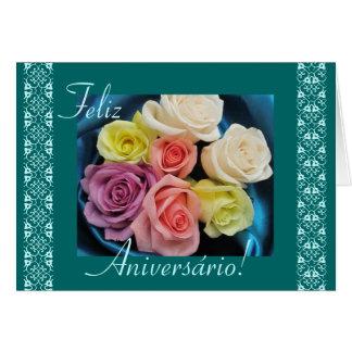 Cartão Português: Parabens! rosas e laço do aniversário