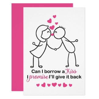 Cartão Posso eu peço um design bonito do casal do beijo