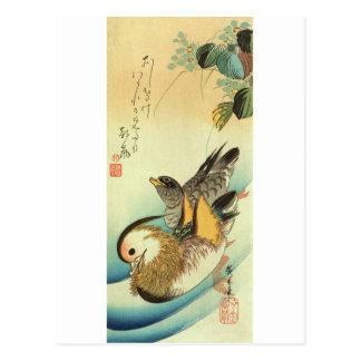Cartão Postal おしどり, pato de mandarino do 広重, Hiroshige, Ukiyo-e