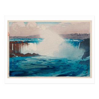 Cartão Postal ナイアガラ瀑布, Niagara Falls, Hiroshi Yoshida, Woodcut