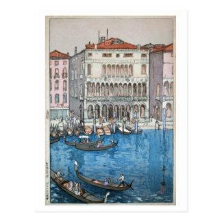 Cartão Postal ベニス, Veneza, Hiroshi Yoshida, Woodcut