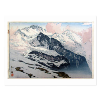 Cartão Postal ユングフラウ, Jungfrau, Hiroshi Yoshida, Woodcut