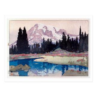 Cartão Postal レーニア山, o Monte Rainier, Hiroshi Yoshida, Woodcut