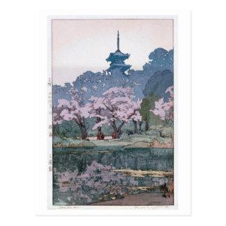Cartão Postal 三渓園, Sankei-en jardim, Hiroshi Yoshida, Woodcut