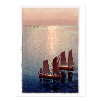 Cartão Postal 光る海, mar de brilho, Hiroshi Yoshida, Woodcut