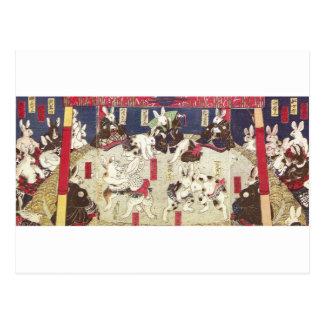 Cartão Postal 兎の相撲, coelhos do Sumo do 芳藤, Yoshifuji, Ukiyo-e
