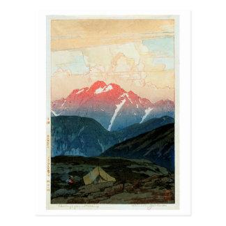 Cartão Postal 剣山の旭, montagem Tsurugi, Hiroshi Yoshida, Woodcut