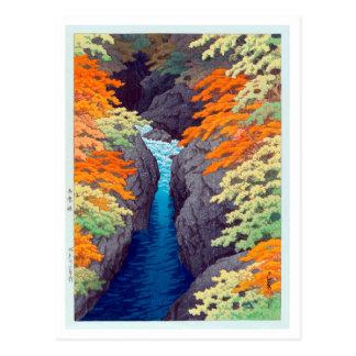 Cartão Postal 吾妻峡, desfiladeiro de Azuma, Hasui Kawase, Woodcut