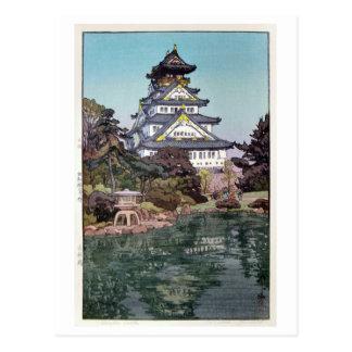 Cartão Postal 大阪城, castelo de Osaka, Hiroshi Yoshida, Woodcut