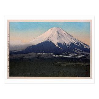 Cartão Postal 富士十景吉田村, dez vistas de Fuji, vil de Yoshida.,
