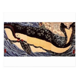 Cartão Postal 巨鯨, baleia grande do 国芳, Kuniyoshi, Ukiyoe