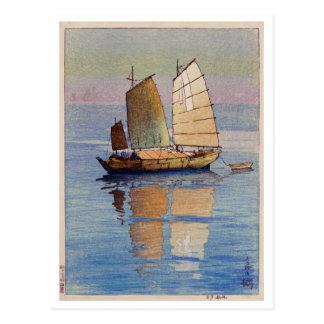 Cartão Postal 帆船夕日, fulgor de noite dos barcos de navigação,