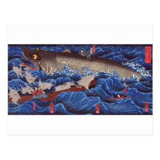 Cartão Postal 怪物鮫, tubarão do monstro do 国芳, Kuniyoshi, Ukiyo-e