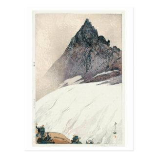 Cartão Postal 槍ヶ岳, montagem Yari, Hiroshi Yoshida, Woodcut