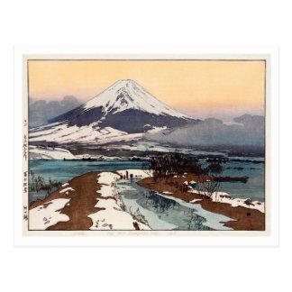 Cartão Postal 河口湖, lago Kawaguchi, Hiroshi Yoshida, Woodcut