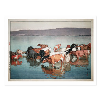 Cartão Postal 沼崎牧場の昼, vacas, Hiroshi Yoshida, Woodcut