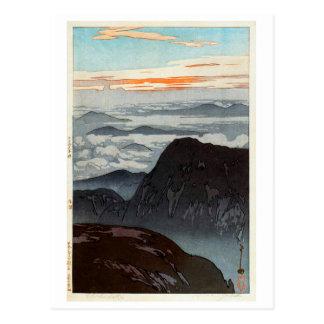 Cartão Postal 烏帽子岳の旭, montagem Eboshi, Hiroshi Yoshida, Woodcut