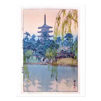 Cartão Postal 猿澤池, lagoa de Sarusawa, Hiroshi Yoshida, Woodcut