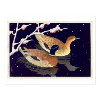 Cartão Postal 真鴨, patos do pato selvagem, Hasui Kawase, Woodcut