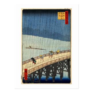 Cartão Postal 突然の雨, chuva repentina do 広重, Hiroshige