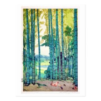 Cartão Postal 竹林, bosque de bambu, Hiroshi Yoshida, Woodcut