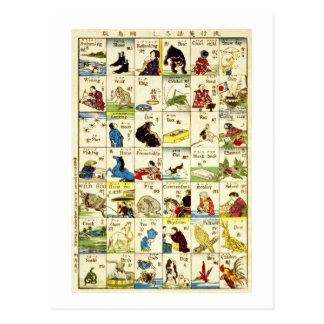 Cartão Postal 英単語表, mesa de palavras inglesas, Ukiyo-e do 亀吉