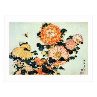 Cartão Postal 菊と蜂, crisântemo do 北斎 e abelha, Hokusai