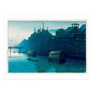 Cartão Postal 道頓堀の朝, manhã em Dôtonbori, Hasui Kawase, Woodcut