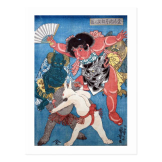 Cartão Postal 金太郎と動物, 国芳 Kintaro & animais, Kuniyoshi, Ukiyo-e