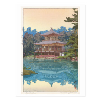 Cartão Postal 金閣寺, Kinkaku-ji, Hiroshi Yoshida, Woodcut
