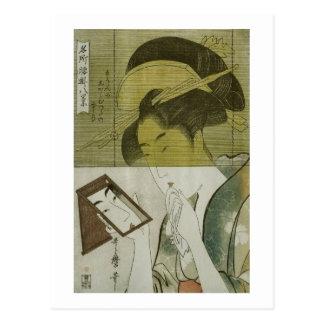 Cartão Postal 鏡を見る女, mulher que vê o espelho, Utamaro do 歌麿,