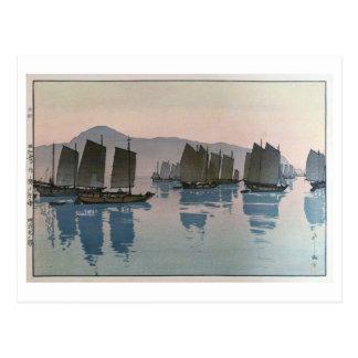 Cartão Postal 阿伏兎の朝, manhã em um mar, Hiroshi Yoshida, Woodcut