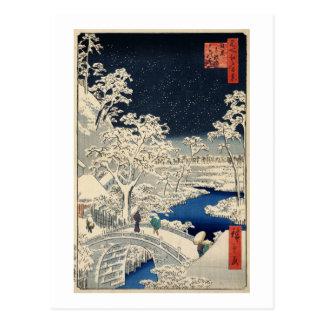 Cartão Postal 雪の太鼓橋, ponte nevado do cilindro do 広重, Hiroshige,