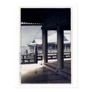 Cartão Postal 雪の清水寺, neve no templo de Kiyomizu, Hasui Kawase