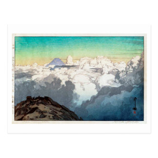 Cartão Postal 駒ヶ岳山頂, pico de Komagatake, Yoshida, Woodcut