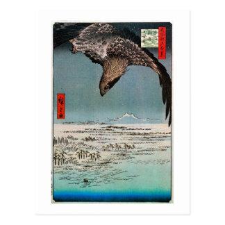 Cartão Postal 鷲と雪景色, 広重 Eagle e cena da neve, Hiroshige