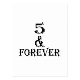Cartão Postal 05 e para sempre design do aniversário