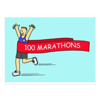 Cartão Postal 100 parabéns da maratona para um homem
