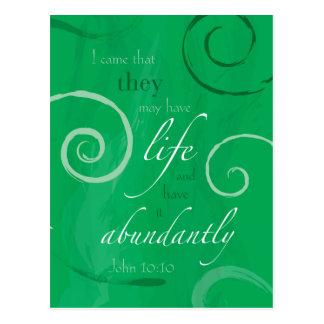 Cartão Postal 10:10 de John - vida abundante