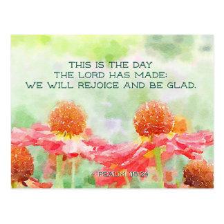 Cartão Postal 118:24 do salmo este é o dia onde o senhor fez