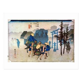 Cartão Postal 12. 三島宿, 広重 Mishima-juku, Hiroshige, Ukiyo-e
