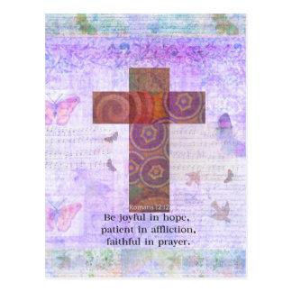 Cartão Postal 12:12 dos romanos - seja alegre na esperança,
