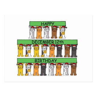 Cartão Postal 12 de dezembro aniversários comemorados por gatos