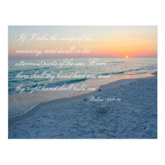Cartão Postal 139:9 dos salmos da escritura da praia do por do
