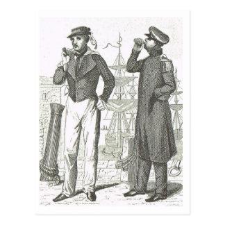 Cartão Postal 1800s dos uniformes dos marinheiros